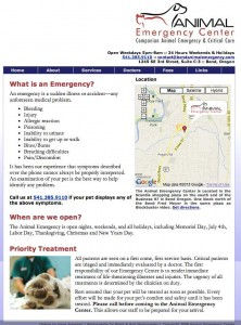 Animal Emergency Center website before the redesign.
